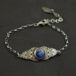 bransoletka,skrzydła,kianit,niebieska,delikatna - Bransoletki - Biżuteria