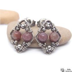 kolczyki,sztyfty,turmalin,róż,romby,wirewrapping - Kolczyki - Biżuteria