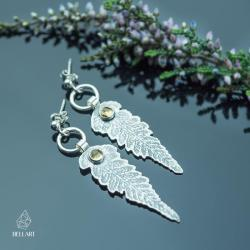 paproć,listki,boho,naturalne,eleganckie - Kolczyki - Biżuteria