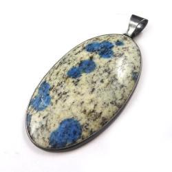jaspis,srebrny,okazały,srebro,szarości,azuryt - Wisiory - Biżuteria