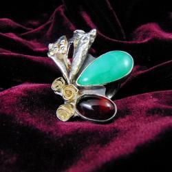 pierścionek srebrny z chryzoprazem i granatem - Pierścionki - Biżuteria