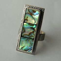 z muszlą paua,srebro oksydowane,regulowany - Pierścionki - Biżuteria