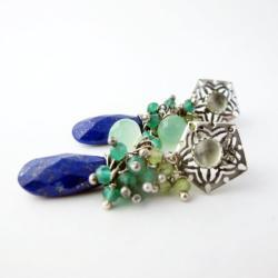 Długie,romantyczne kolczyki z lapis lazuli - Kolczyki - Biżuteria