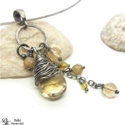 wisiorek,cytryn,otulony,żółty,wirewrapping,ładny - Wisiory - Biżuteria