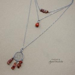 naszyjnik boho,łapacz snów,wire wrapping - Naszyjniki - Biżuteria