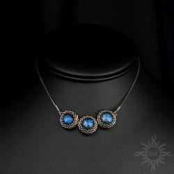 labradoryt,niebieski,delikatny,na łańcuszku,srebrn - Naszyjniki - Biżuteria