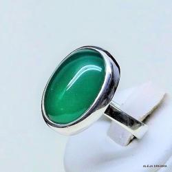 pierścionek z zielonym onyksem,srebro,biżuteria - Pierścionki - Biżuteria