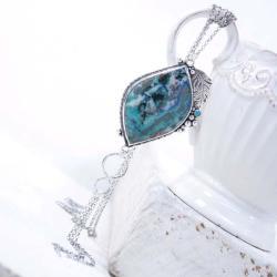 Srebrny naszyjnik z chryzokolą - Naszyjniki - Biżuteria