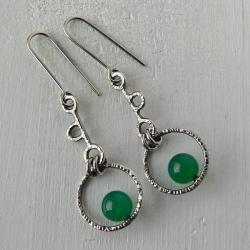 srebro kute,zielony agat,długie kolczyki - Kolczyki - Biżuteria
