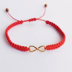 bransoletka,czerwona,nieskończoność,złota - Bransoletki - Biżuteria