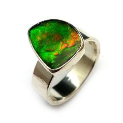 ammolit,srebrny,srebro,ammolity,tęcza,jesienny - Pierścionki - Biżuteria