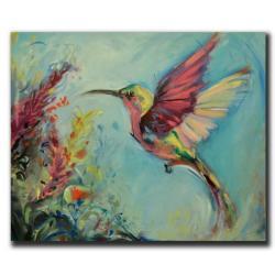abstrakcja,koliber,ptak,kwiaty,humming bird - Obrazy - Wyposażenie wnętrz