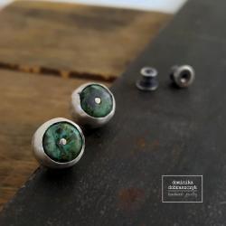 turkus,sztyfty,wkrętki,srebro - Kolczyki - Biżuteria