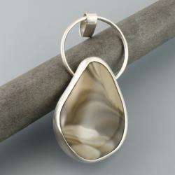 srebrny wisior z krzemieniem pasiastym - Wisiory - Biżuteria
