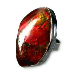 ammolit,amonit,srebrny,tęczowy,retro,blask,czerwo - Pierścionki - Biżuteria
