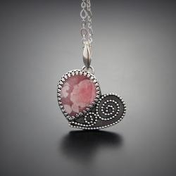 serce,wisior,srebrny,z rodochrozytem - Naszyjniki - Biżuteria