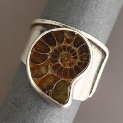 srebrny pierścionek z amonitem - Pierścionki - Biżuteria
