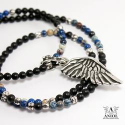 naszyjnik ze skrzydłem anioła,koraliki na szyję - Naszyjniki - Biżuteria