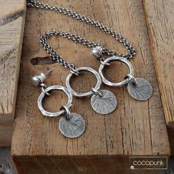 delikatny,nowoczesny,prezent,srebro oksydowane - Komplety - Biżuteria