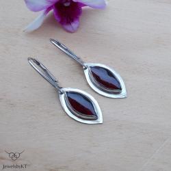 srebrna biżuteria,kolczyki z granatami,JewelsbyKT - Kolczyki - Biżuteria