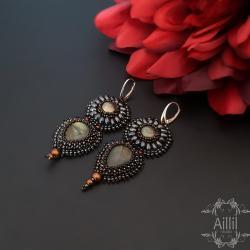 haft koralikowy,eleganckie,ekskluzywne,stylowe - Kolczyki - Biżuteria
