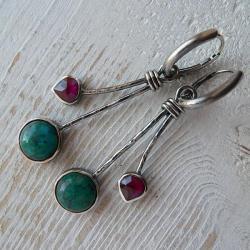 długie kolczyki,z granatem,srebro kute - Kolczyki - Biżuteria