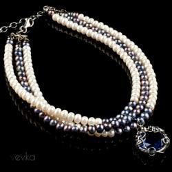 choker,choker z pereł,iolit,naszyjnik z pereł - Naszyjniki - Biżuteria