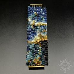 kosmiczna,kosmos,hubble,szeroka,wyplatana,kobaltow - Bransoletki - Biżuteria