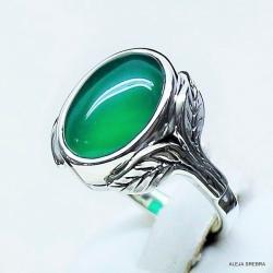Pierścionek z zielonym kamieniem,srebro,biżuteria, - Pierścionki - Biżuteria
