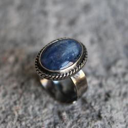 pierścionek,srebro,kyanit,niebieski,filigran - Pierścionki - Biżuteria