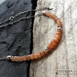 srebro oksydowane,kamienie szlachetne,krótki, - Naszyjniki - Biżuteria