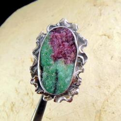 pierścionek srebrny z rubinem z zoisytem - Pierścionki - Biżuteria