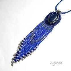 naszyjnik,boho,niebieski,frędzle, - Naszyjniki - Biżuteria