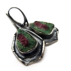zoisyt,rubin,blask,zieleń,srebrne,szarości,oksyda - Kolczyki - Biżuteria
