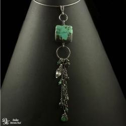 wisiorek,turkus,kwadrat,długi,turkusowy,zielony, - Wisiory - Biżuteria