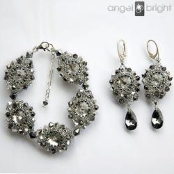 Komplet,bransoletka,kolczyki,kryształowe, - Komplety - Biżuteria