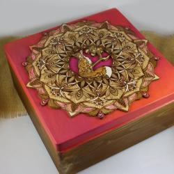 mandala,lis,pirografia - Pudełka - Wyposażenie wnętrz