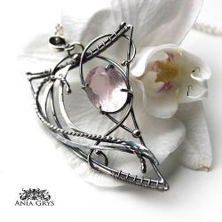 kwarcróżowy,wirewrapping,aniagrys,wisiorek - Wisiory - Biżuteria