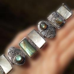 srebrna bransoleta z labradorytami i masą perłową - Bransoletki - Biżuteria