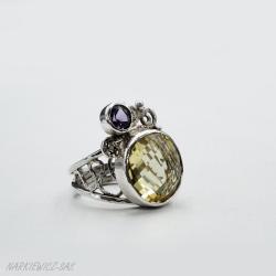 Pierścionek z cytrynem i ametystem - Pierścionki - Biżuteria