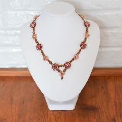 naszyjnik,Hurrem,Swarovski,Toho,haft,róż - Naszyjniki - Biżuteria