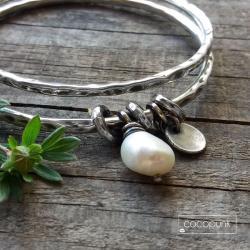 z perłą,srebrna,bangle,bogata - Bransoletki - Biżuteria