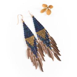 kolczyki z piórkami,boho,indiańskie - Kolczyki - Biżuteria