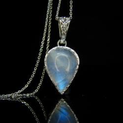 srebro,kamień księżycowy,naszyjnik,łańcuszek - Naszyjniki - Biżuteria