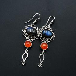 Srebrne kolczyki z labradorytami i karneolem - Kolczyki - Biżuteria