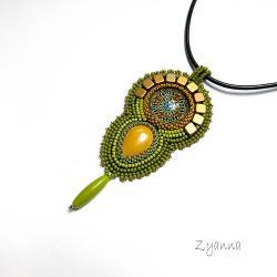 naszyjnik,zielony,boho - Naszyjniki - Biżuteria