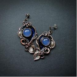 kolczyki miedziane z niebieskimi kamieniami - Kolczyki - Biżuteria