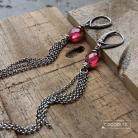 Kolczyki chwosty,długie,modne,srebro,rózowe