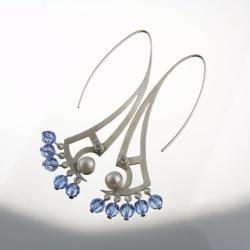 srebrne,kolczyki,z cyrkonią,perłą kryształkami - Kolczyki - Biżuteria
