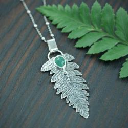 liść,paproć,fasetowany,leśny,natura - Wisiory - Biżuteria